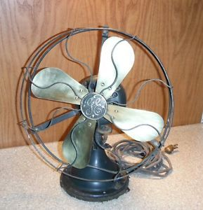 "GE Antique Electric Fan 12"" Brass Blades 3 Speed ""Works"" B50108 Cat 34017 AUU"