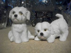 2 Home Interiors Homco Puppy Dog Figurines