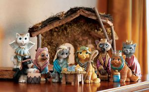 Religious Cat Nativity Collectible Figurines