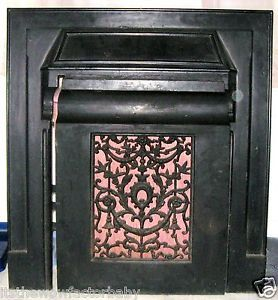 Antique Victorian Cast Iron Fireplace Mantel Surround Frame Register Opening Old