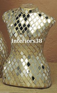Small Fashion Designer Mirror Mosaic Model Dress Form Mannequin Jewelry Display
