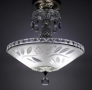 Vintage Semi Flush Mount Ceiling Light Fixture Antique Art Deco Glass Chandelier
