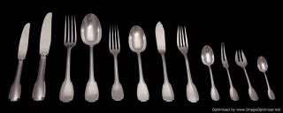 Christofle Sterling Silver Flatware Set 151pcs 12 Trays 9 Serving Pieces