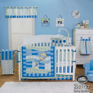 Trend Lab Baby Boy Blue Green Dr Seuss Balloon Crib Nursery Quilt Bedding Set