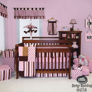 Trend Lab Baby Girl Pink Brown Dot Solid Stripe Crib Nursery Bedding Quilt Set