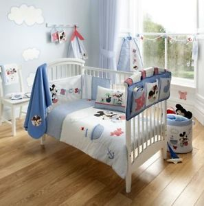Official Mickey Mouse Blue Nursery Cot Set Bedding Curtains Bumper Towel An More