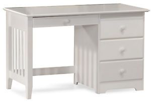 White Wood Bunk Bed Desk Kids Bedroom Furniture