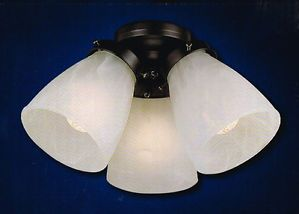 Harbor Breeze Ceiling Fan 3 Light Kit Bell Glass Shade Matte Black Finish 384204