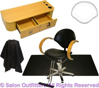 Natural Oak Styling Station Hydraulic Barber Chair Mat Beauty Salon Equipment