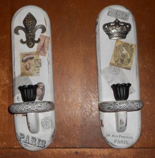 Shabby French Chic Cottage Wood Candle Holder Sconces Set Hand Decorated