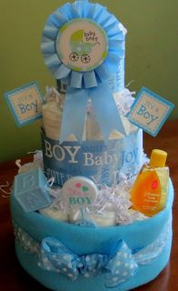 It's A Boy Loaded 3 Tier Boutique Style Diaper Cake Baby Boy Shower Gift