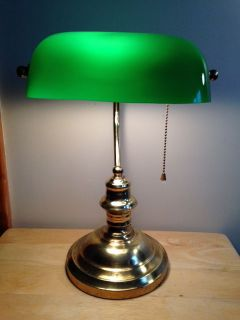 "Vintage Desk Lamp Green Glass Shade ""Bankers Lamp"""