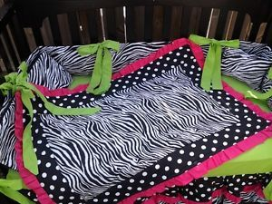 New Custom Hot Pink and Lime Green Polka Dot Zebra Crib Bedding Set Black White