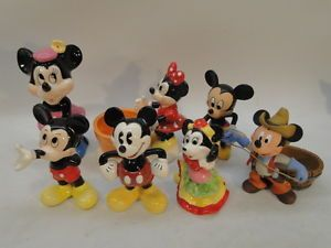 Vintage Disney Mickey Minnie Mouse Figurines Lot of 7 Porcelain Figurine Cowboy