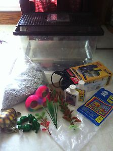 15 Piece Fish Tank Setup 5 Gallon Tank Filter Decor More Aquarium Kit Lot