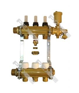 3 Circuit Brass Radiant Heat Manifold w Flow Valves w PEX Adapters