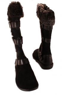 Womens Black Leather Knee High Boots 8