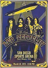 LED Zeppelin Concert Poster San Diego 10th March 1975 A3 Size