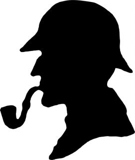 Sherlock Holmes Silhouette Decal Removable Door Wall Sticker Home Decor Art