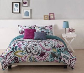 Teen Girl Floral Turquoise Tropic Twin Full Queen King Comforter Bed Set