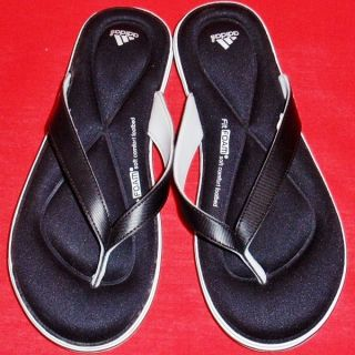 New Women's Black White Adidas Juuvi FF Fitfoam Flip Flops Thong Sandals Shoes