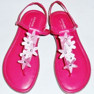 New Girl's Youth Sonoma Talia Fuschia Pink Flowers Thongs Fashion Sandals Shoes