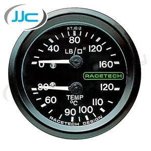 Racetech Mechanical Oil Pressure Oil Temp Dual Gauge 12 ft Long Capillary