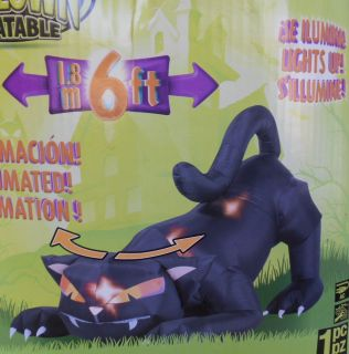 6ft Long Airblown Inflatable Lighted Animated Black Cat Halloween