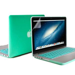 Turquoise Rubberized Case Screen Protector Keyboard Cover MacBook Pro 13 Retina