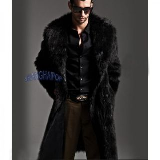 Mens Faux Fur Parka Coat Winter Warm Luxury Long Jacket Outerwear Overcoat Black