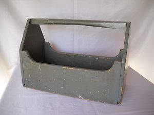 Antique Vtg Primitive Wood Tool Box Garden Tool Caddy Carrier Tote Old Paint