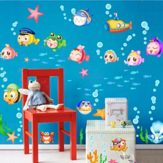 New Wall Mural Art Decor Vinyl Deca Sticker Paper Fat Fish Kid Room Bathroom