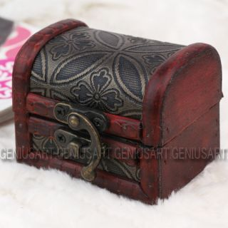 Vintage Retro Wooden Jewelry Box Storage Antique Style Trinket Case Container