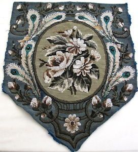 Fine Antique 1800's Victorian Beadwork Needlepoint Fire Screen Banner Panel