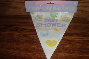 Pastel Color Baby Shower Hanging Pennant Banner 12' Feet Long New