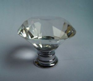 20pcs Cabinet Knob 30mm Diamond Shape Crystal Glass Cupboard Drawer Pull Handle