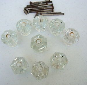 Vintage Lot of 9 Crystal Clear Glass Drawer Knobs Pulls Cabinet Used