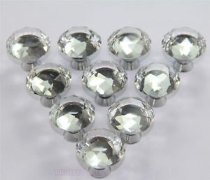 30mm Diamond Shape Crystal Glass Cabinet Knob Cupboard Drawer Door Pull Handle