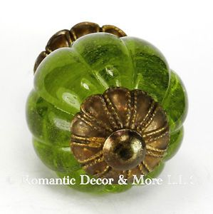 Peridot Glass Cabinet Knobs Cupboard Drawer Pulls Kitchen Handle K185FF AB