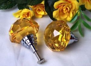 Large Amber Solid Crystal Glass Drawer Pull Cabinet Knobs