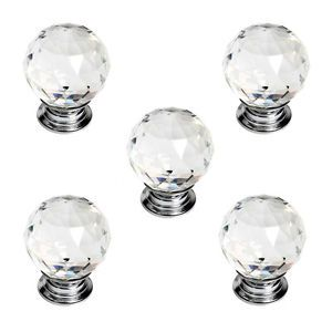 5X 30mm Clear Crystal Glass Door Knobs Drawer Cabinet Furniture Kitchen Handle