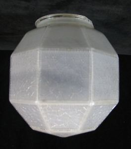 Vintage Frosted Geodesic Art Deco Glass Globe Light Lamp Shade