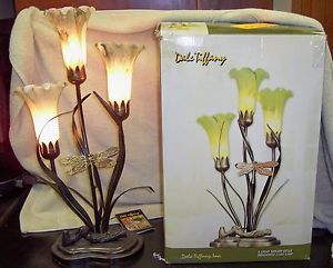 Dale Tiffany Lamp Dragonfly Lily Hand Blown Glass Shades Table Lamp