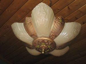 Virden Antique Art Deco Craftsman Ceiling Fixture Chandelier Slip Shade Glass