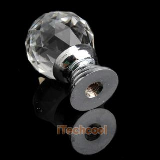 10 Pcs Diam 20mm Round Crystal Glass Cabinet Knobs Drawer Furniture Pull Handle