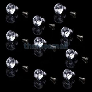 10x Dia 25mm Clear Crystal Glass Drawer Cabinet Door Knob Pull Handle DIY Decor