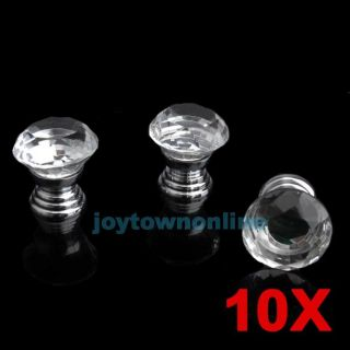 10 Pcs 30mm Diamond Shape Crystal Glass Knobs Cabinet Drawer Door Pulls Handles