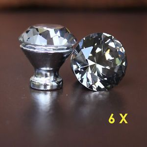 6 Pcs Grey Crystal Glass Drawer Knobs Handle Pulls Bed Room Cabinet