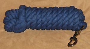 Cotton Lead Rope 14 Foot Long Big 3 4 inch Diameter Brass Snap Blue Horse Tack