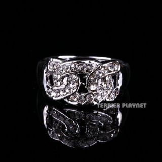Ladies Women Silver White Gold Plated Austrian Crystal Ring Made in Korea RG5